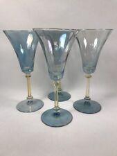 PV02604 Heisey Glass #3368 ALBEMARLE BLUE & AMBER FLASH Water Goblet- Set of 4