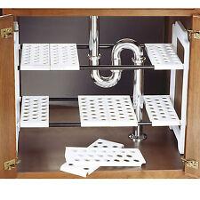 Réglable sous évier étagère Unité Blanc de Rangement Cuisine Armoire rack salle de bains