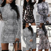 Women's Leopard Print Sexy Long Sleeve Slim Casual Bodycon Mini Dress Party Club
