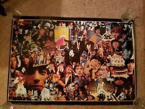 """The Rolling Stones Collage 38.5"""" x 27"""" Vintage Poster Italy 1970"""