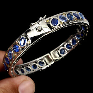 Unheated Oval Blue Kyanite 6x4mm Sapphire Diamond Cut 925 Sterling Silver Bangle