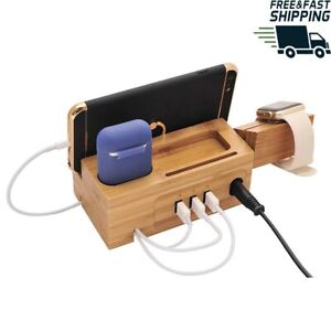 Multi USB Ports Wooden Charging Docking Station For Apple Smartphones and Watchs