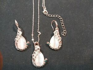 Fine Jewelry  New Fashion KC rose Gold Filled opal Crystal Peacock Necklace,earr
