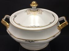 ROSENTHAL SELB-BAVARIA ~CORONA~ LARGE TUREEN HEAVY GOLD ART DECO DESIGN GERMANY