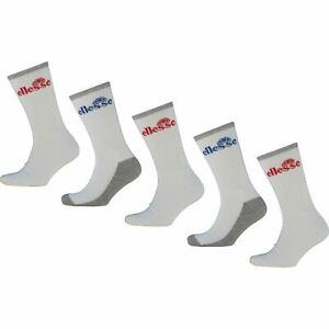 ELLESSE Men's 5-pack Sport Performance Crew Socks, White, UK 7-11