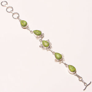 "Green Copper Turquoise Gemstone 925 Sterling Silver Handmade Bracelet 7.99"" B-67"