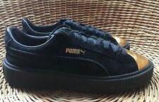 PUMA Rihanna Basket Platform Womens Gold Black Suede Creeper Trainers UK 6 EU 39