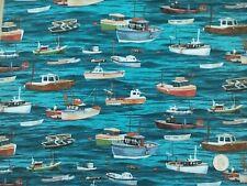 100/% Algodón Popelín Tela Rose /& Hubble barcos de vela anclajes Playa Cabañas