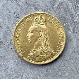 1887 Great Britain 2 Pound Gold Coin Jubilee Head - Queen Victoria