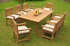 "9pc Grade-A Teak Dining Set 83"" Rectangle Table 8 Devon Arm Chair Outdoor Patio"
