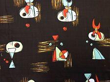 Atomic Retro Barkcloth Boomerang Sputnik MCM Mid Century Mod Cotton Fabric NT41