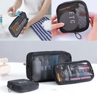 Portable Zipper Mesh Cosmetic Bag Makeup Mesh Toiletry Bag Transparent Wash Case