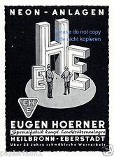 Neon Anlagen Hoerner Heilbronn Eberstadt Reklame von 1958 Neonlicht Werbung ad