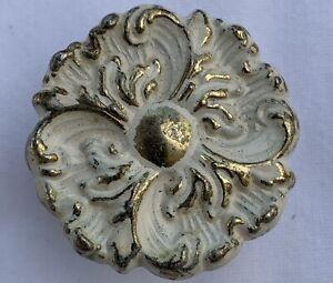 True Vintage Drawer Pull gold brass shabby white enamel paint Canada C-879