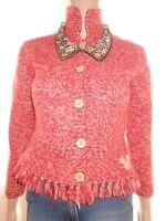 DISNEY Womens Vtg 90s Chunky Knit Lambswool Angora Cardigan Jacket sz 8 XS X60