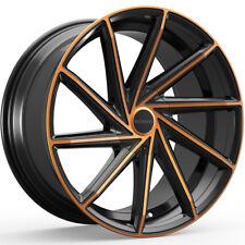 """4-20"""" Inch Rosso Insignia 20X8.5 5x100/5x114.3 +38mm Black/Copper Wheels Rims"""
