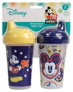 Disney Mickey Mouse Sipper Sippy Cups, 2 Pack, Spill Proof, BPA Free, FD50912