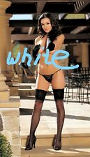 White Stay Up Lace Top Sheer Thigh High Stocking One Size Shirley 90096