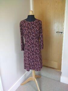 Crew Clothing Winter Dress Size 12 Burgundy Floral Tea Dress