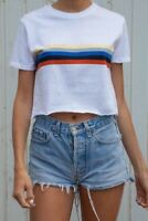 brandy melville white crop crewneck cotton Serena rainbow top NWT sz S/M
