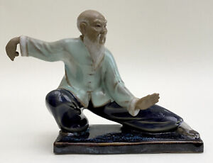 Chinese Mudman Figurine, Tai Chi Pose, Glazed Ceramic
