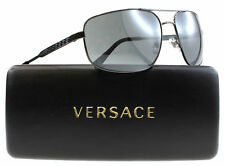 3a810cba805 New VERSACE Sunglasses VE2158 1316 6G Gunmetal Aviator Frame w Grey Lens  Mirror