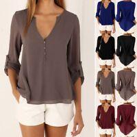 Fashion Women Summer Casual V-Neck Long Sleeve Chiffon T Shirt Loose Tops Blouse
