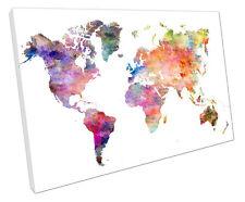 WORLD Map Acquerello CANVAS Wall Art Picture grandi 75 x 50 cm