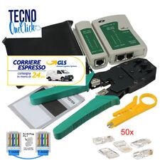 Tester rete lan rj45 rj12 rj11+ pinza crimpatrice + 50 plug connettori ethernet