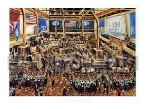WALL STREET ART PRINT - Stock Exchange by John Abed 24x32 Market Broker Poster