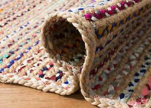 Rug Runner Jute & Cotton Handmade Braided style rug rustic look area carpet Rug
