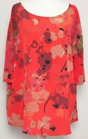 PHASE EIGHT Orange Red Floral Loose Oversize 3/4 Sleeve Boxy Blouse Top Size 12