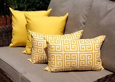 Greek Key Citrus Yellow Pillow, Solid Yellow Outdoor Throw Pillows - Set of 4