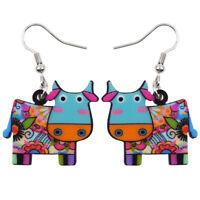 Acrylic Cartoon Cattle Cow Earrings Drop Dangle Jewelry For Women Kid Party Gift