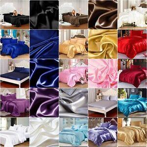 SALE - 800 TC Super Soft Satin Silk All UK Size/Color Hotel Linen 4pc Sheet Set