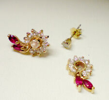 Vintage Diamond studs and Ruby jacket earrings featuring Brilliant cut Diamonds