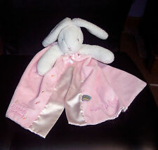 Bunnies By The Bay Bunny Baby Blanket Pink&White Lovey Toy Personalized Madalyn