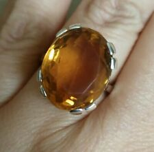 Stunning 10.8 carat Natural Citrine ring solid Sterling 925 silver size N vtg