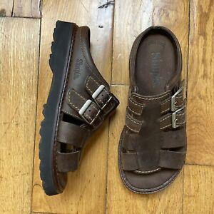Vintage 90's Simple Leather Chunky Grunge Slides Slip On Sandals Shoes Size 8
