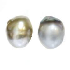 Tahitian Baroque Pearl Stud Earrings 15 MM 14k Yellow Blue and pistachio Beige