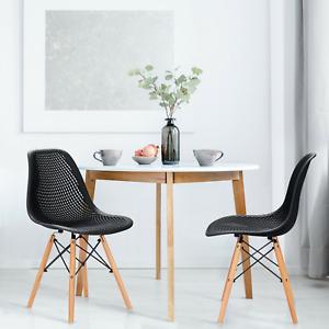 2 Pcs Modern Plastic Hollow Chair Set with Wood Leg