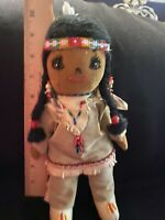 Vintage Handmade Native Indian Cloth Doll 10 Inch Suede leather beaded beautiful