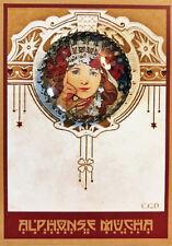 PRINCESS HYACINTH Glass Dome Filigree Shank BUTTON CARD Vintage MUCHA ART 30mm
