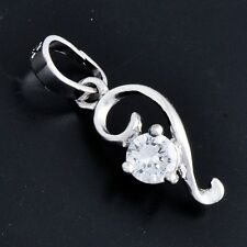 Trendy 14K White Gold Plated Women's Pendant Clear Cubic Zirconia Pendant