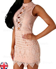 Summer Pink Lace Crochet Detail Open Back Bodycon Mini Dress Size L (UK12-14)