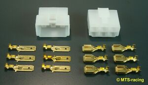 1 x Stecker Set 6-polig Steckverbinder Auto KFZ Motorrad Oldtimer Flach 6,3 mm