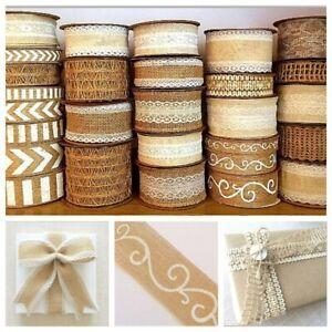 Eleganza Hessian Linen & Lace Ribbon Trim Jute Chevron Print Choose Style Length