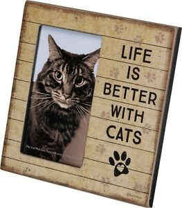 Wooden Life is Better With Cats Photo Frame Rustic Square Paw Print Heart New