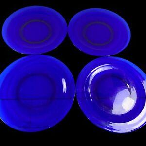 """Vintage Luminarc France Cobalt Blue Glass Serving Dish Plates 4 Pcs 8""""D"""