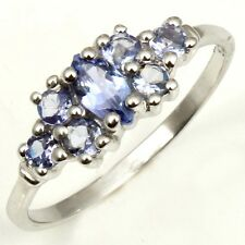 Party Wear Ring SZ US 6 Real TANZANITE Gemstone 925 Solid Sterling Silver C-4099